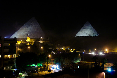 Pyramids in the night.