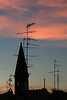 Tower and Antennas with Pink Sky