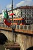 Torino - Orange Tram Crossing Bridge