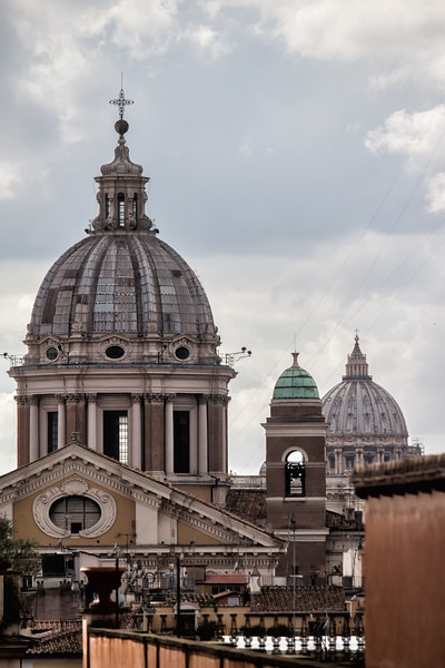 Domes of San Carlo al Corso and St  Peter's from the Spanish Steps