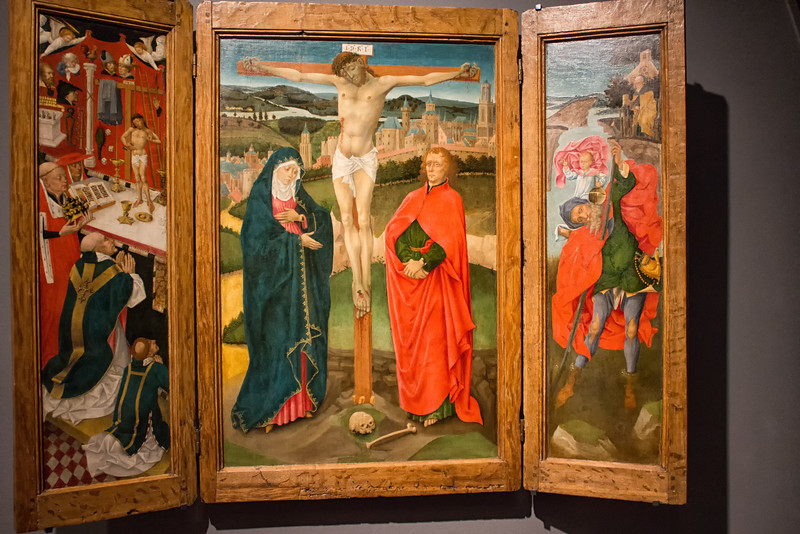 Triptych with Crucifixion (Anonymous, Utrecht, around 1460)