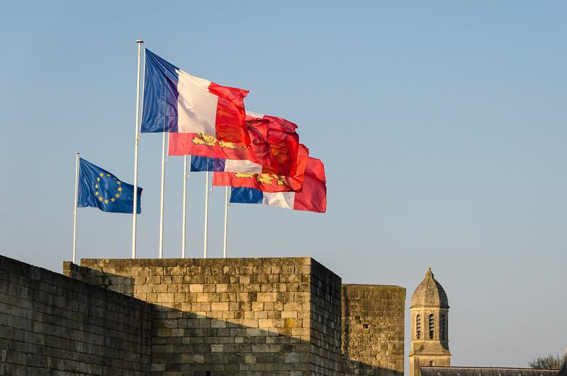Flags Above Caen Castle