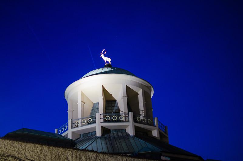 Golden deer on the cupola of the Wuerttemberg art society, Stuttgart