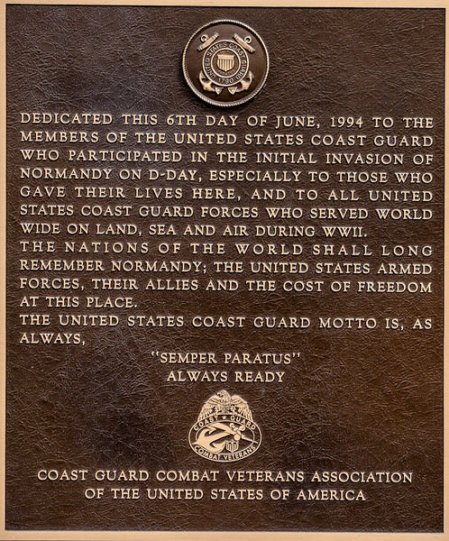 Coast Guard Plaque at Utah Beach