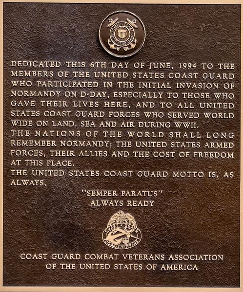 Coast Guard Plaque at Utah Beach