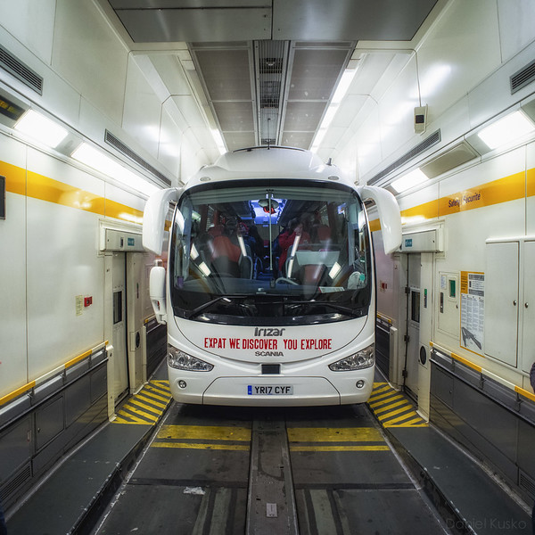 Bus, in a train, in a tunnel, under the English Channel.