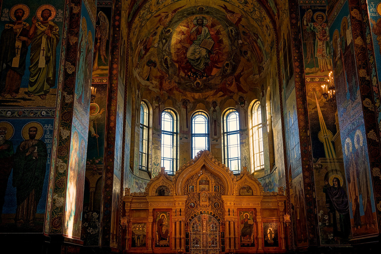 Apse - Church of the Spilled Blood. The church was named to commemorate Alexander the III who was assassinated by terrorists on that site. He is know as the liberator because he abolished serfdom. We were told that in fact that the terrorists were in the pay of his son who wanted to be Tsar.