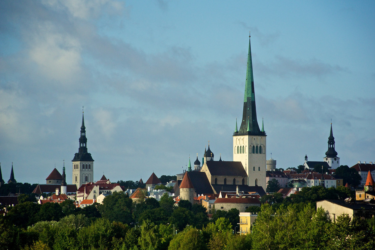 Tallinn Estonia - skyline of old oldtown.