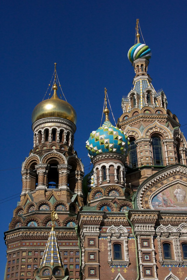 The exterior domes of The Church of the Spilled Blood.