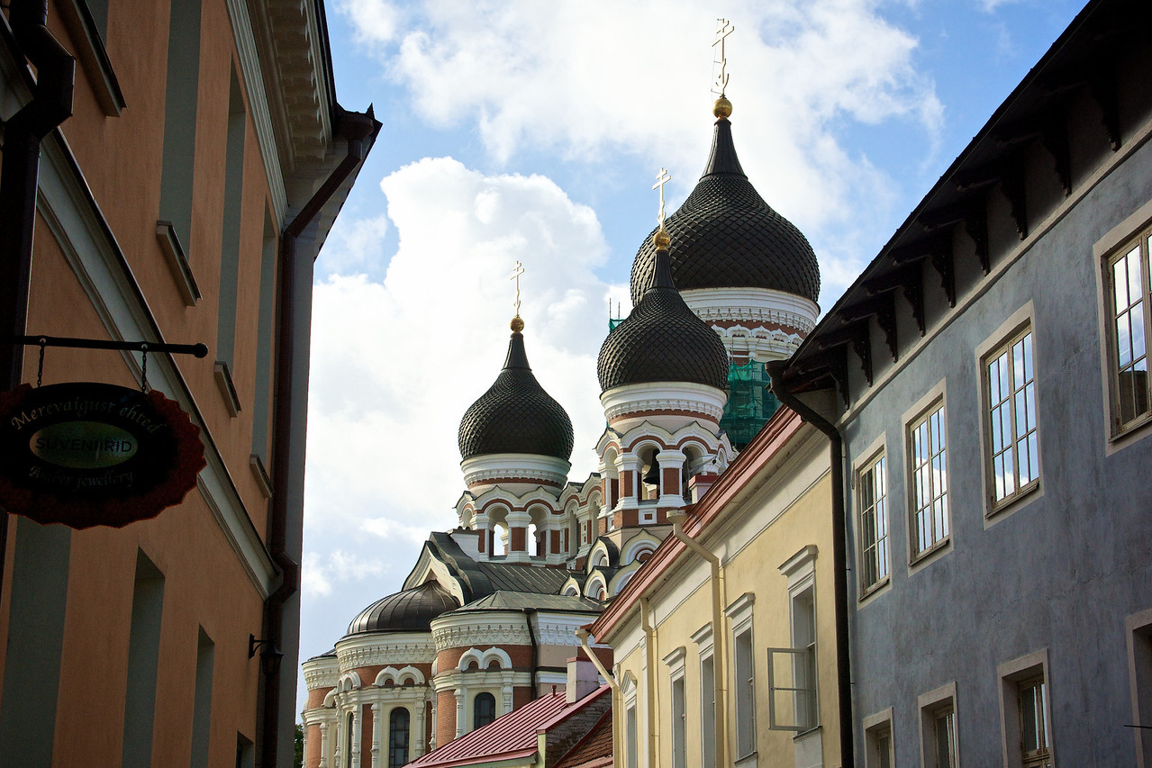 Church domes old town Tallinn.