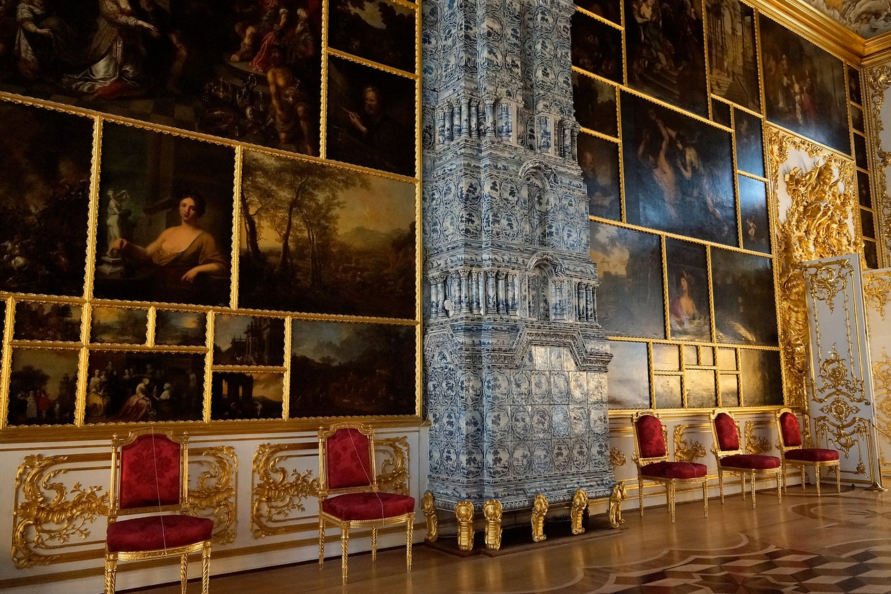 Canvas paintings used like wallpaper, Catherine's Palace.