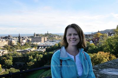 Lisa and the view from Edinburgh Castle