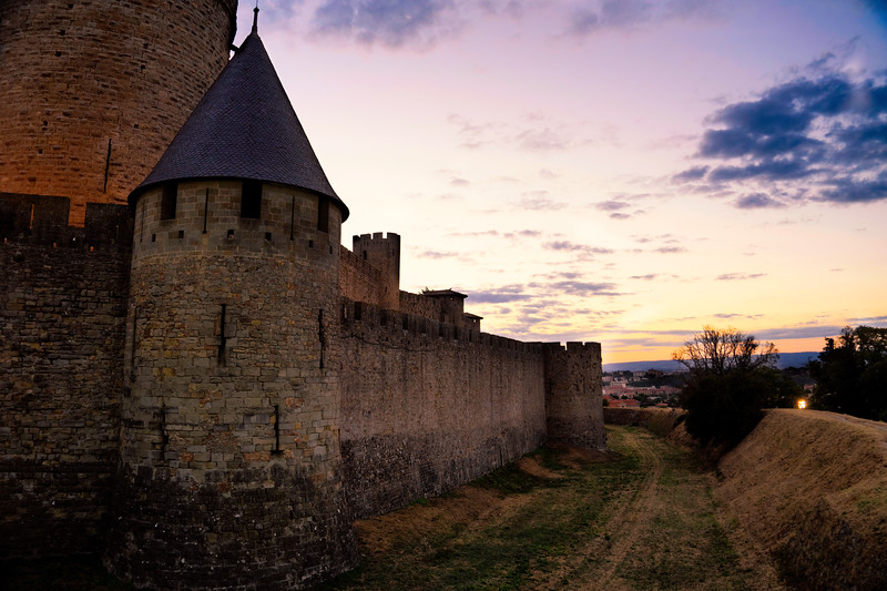 The wall of Carcassonne at twilight