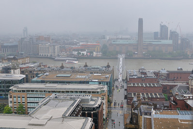 The Millenium Bridge and Tate Modern museum from the top of St. Paul's Cathedral