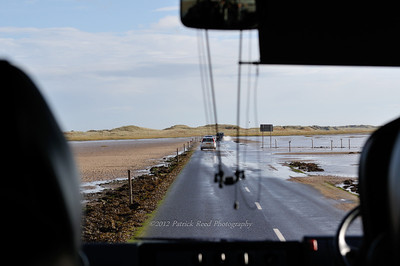 The road to Holy Island and Lindisfairne Castle. When the tide is in, it's under several feet of water