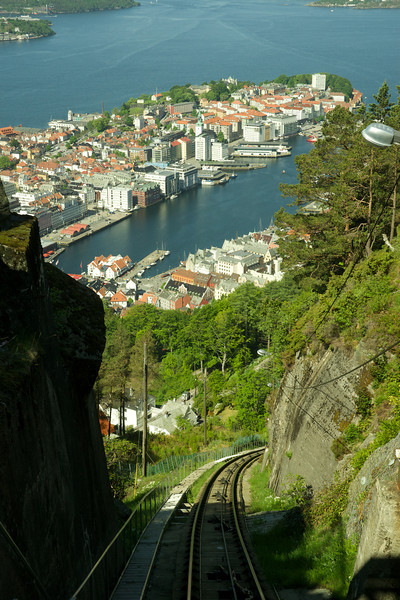 View of Bergen's Harbor from the Tram to the city overlook