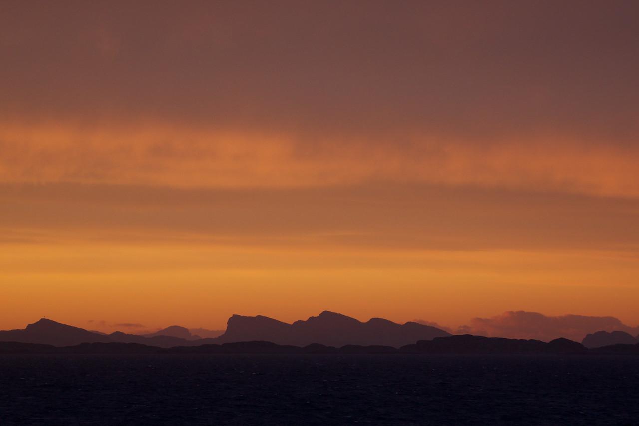Late night sunset leaving Bergen