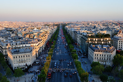 Looking down the Champs Elysees from the top of the Arc de Triomphe