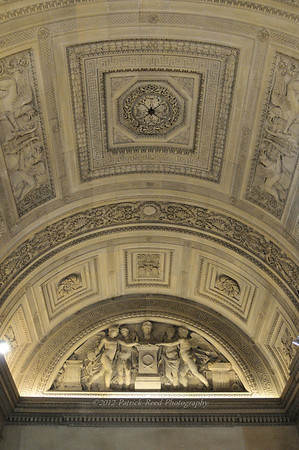 Wall and ceiling detail in one of the Louvre's rooms