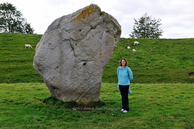 Lisa next to an Avebury stone