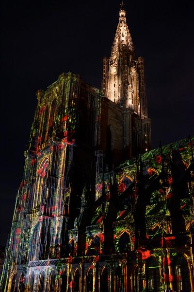 Notre Dame de Strasbourg illuminated with laser light