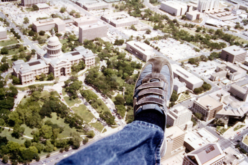 My foot hanging out of helicopter over ATX back in my 'news' days