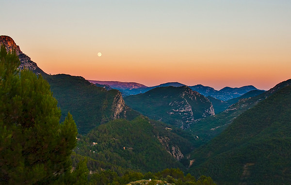 The sun has just set - the moon is rising.  Looking over the landscape from our rented villa.  What a sensational area!!!