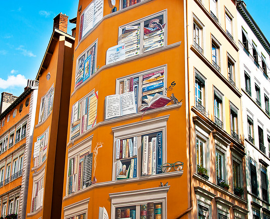 More decorative front walls at the Lyon Library....