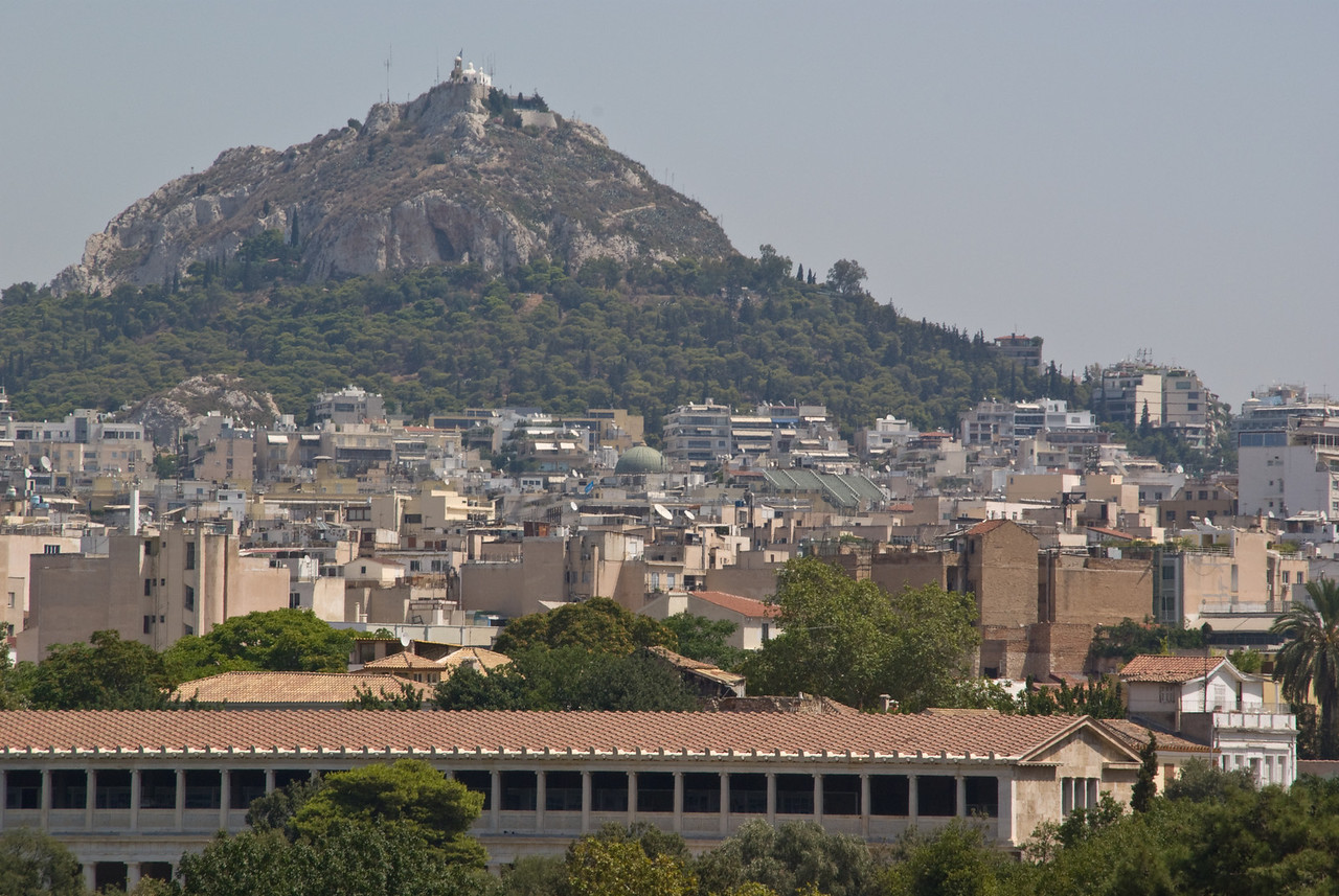 Athens<br /> St George's and Lycebetus Hill from near the Agora