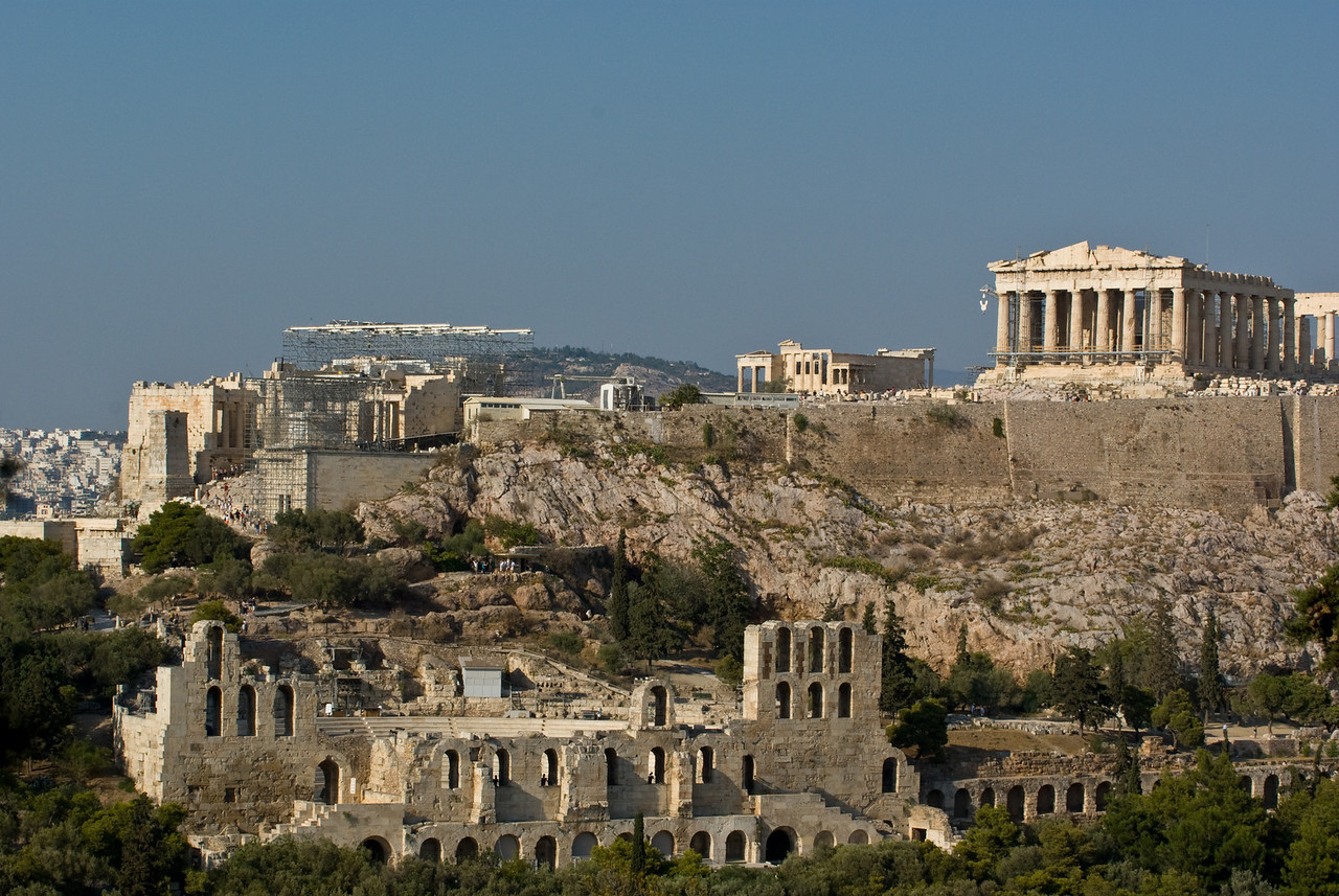 Athens<br /> Acroplois and temple of Nike from Filopappou hill