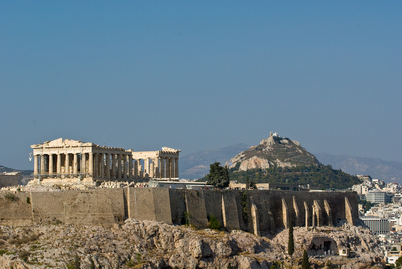 Athens<br /> Parthenon Acropolis and St Georges from filopappou hill