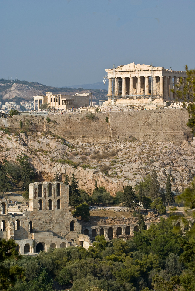 Athens<br /> Acropolis and Nike temple from filopappou Hill