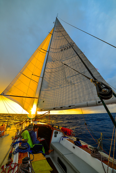 Sailboat sunrise sails wing on wing-3