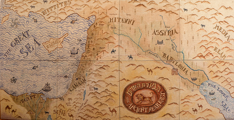 """Map showing trade routes. Megido is marked by the star just above the second """"A"""" in Canaan."""
