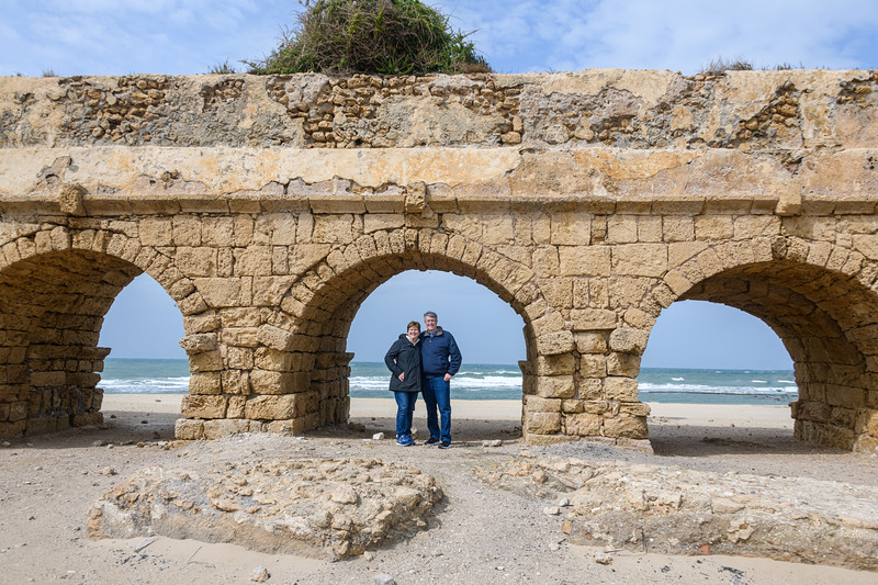 Posing at the ancient Aqueduct with the Medetarrian Sea as a backdrop.