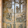 Door on the church illustrating the life of Jesus.