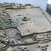 Closer view of the model showing the archaeological park and ruins of the City of David.