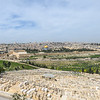 Panoramic view of Jerusalem, Kidron Valley and Jewish Cemetary on the slope of the Mount of Olives.  Burial on the Mount of Olives started some 3,000 years ago in the days of the First Temple, and continues to this day. The cemetery contains anywhere between 70,000 and 150,000 tombs from various periods, including the tombs of famous figures in Jewish history.