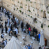 Male only area of the Western Wall as seen from the bridge to the Temple Mount