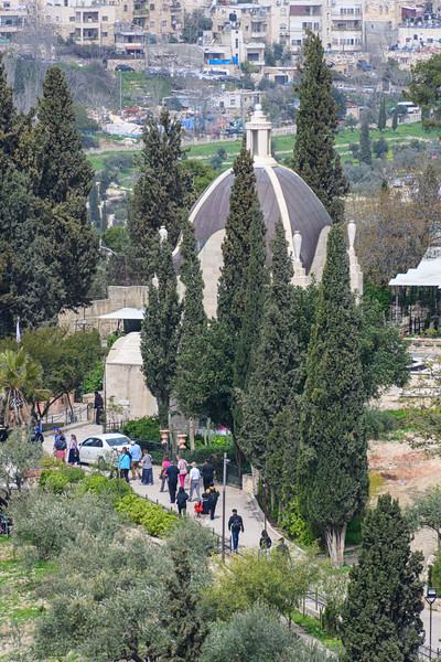 Dome of Dominus Flevit church from Mount of Olives