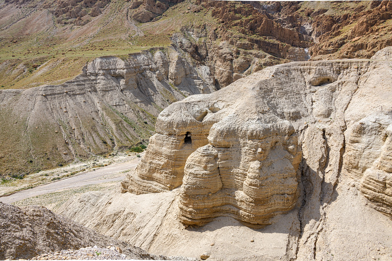 View of the entrance to the cave where the first of Dead Sea Scrolls was found when a tossed rock returned an unusual sound to a young tribesman.