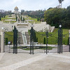 Baha'i Gardens/Temple with terraces coming toward the sea in Haifa.  Baha'i is not recognized as a religion in Israel.