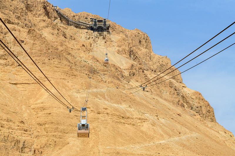 Cable car ride to Masada.