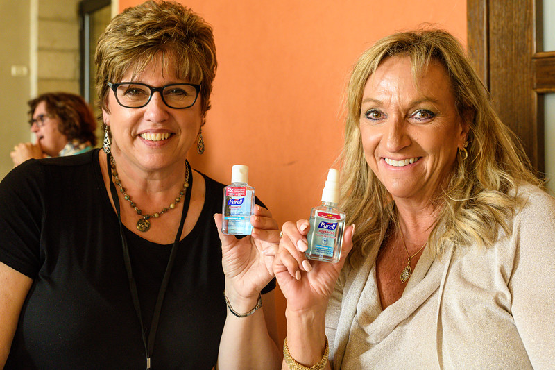 Marybeth and Jody modeling our most commonly used product.