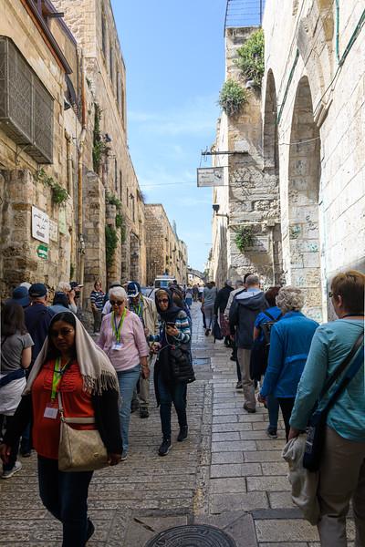 Walking the narrow roads of Jerusalem as we head on the Via Dolorosa.