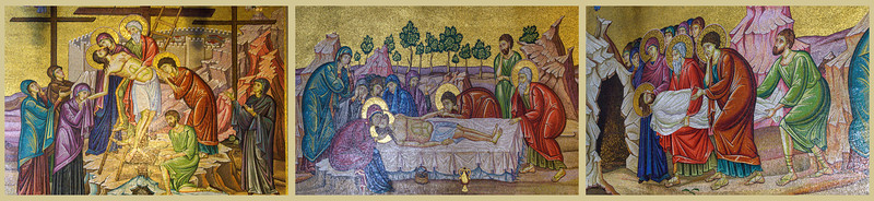 Three-part mosaic along the wall of the Holy Sepulchre depicting: Descent from the Cross, Anointing of Jesus' body, Burial of Jesus. Depicted on the original from right to left.