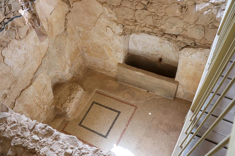 Tiled floor in a bath area
