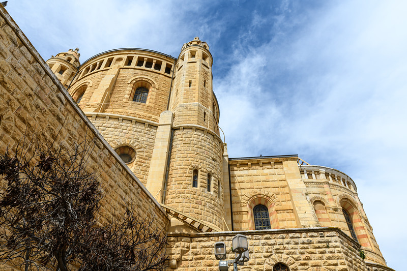 Looking up at the Abbey of Dormition