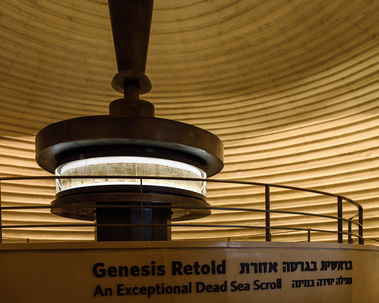 Book of Genesis on a Dead Sea Scroll on display