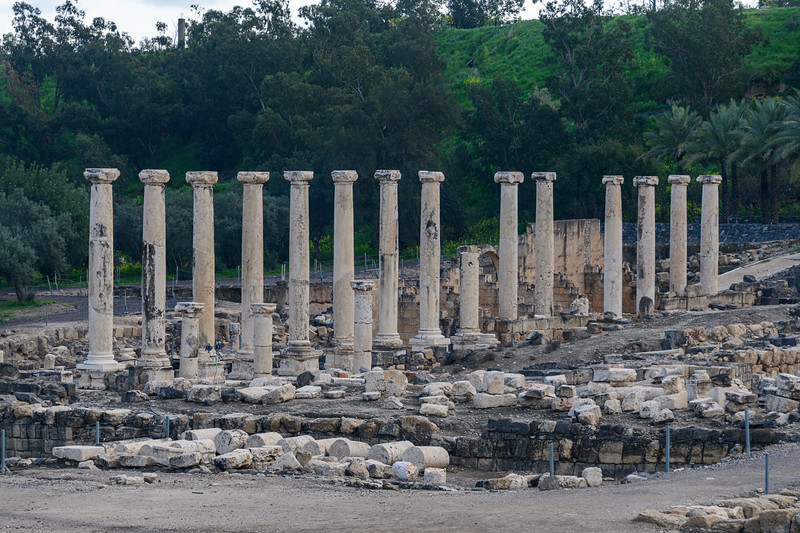 Repositioned columns in Beit She'an